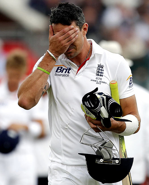 Kevin Pietersen walks off after his dismissal