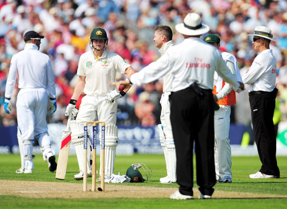 England's batsman appeal for the wicket of Usman Khawaja