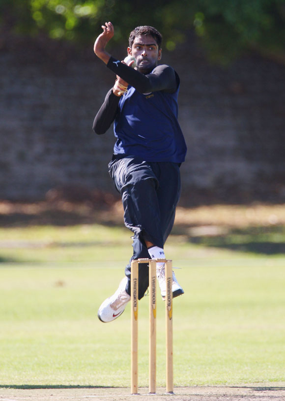 Former Rajasthan Royals bowler Amit Singh at a training session