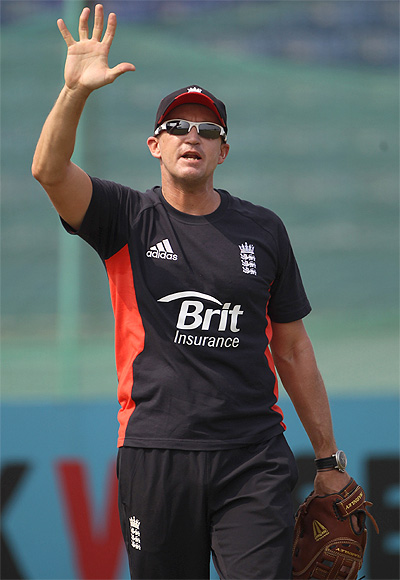 Andy Flower during an England nets session