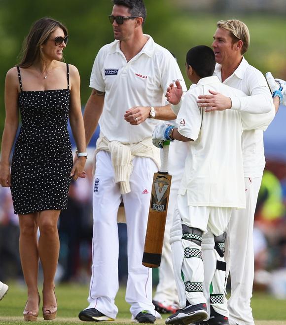 Kevin Pietersen, Elizabeth Hurley and Shane Warne