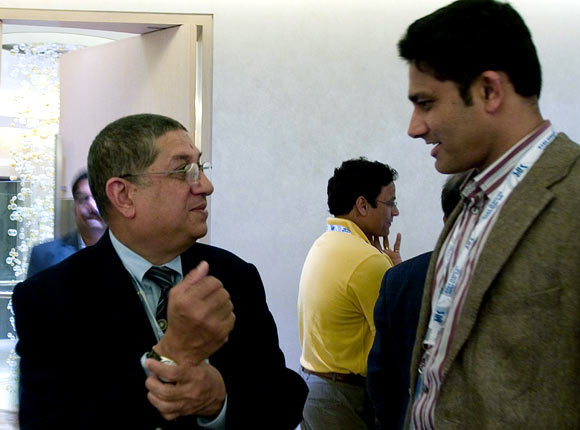 Anil Kumble (right) with N Srinivasan