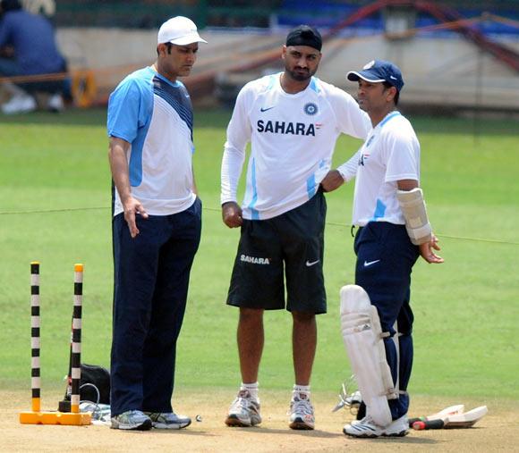 Left to right: Anil Kumble, Harbhajan Singh and Sachin Tendulkar