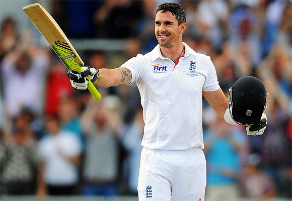 Kevin Pietersen of England celebrates his century on Day III at Old Trafford
