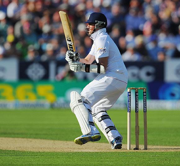 England batsman Graeme Swann picks up some runs on Friday