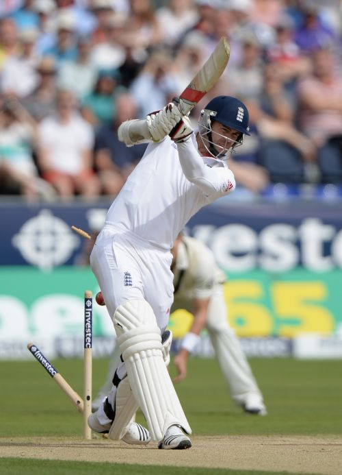 James Anderson of England is bowled by Jackson Bird of Australia during day two of 4th Investec Ashes Test match