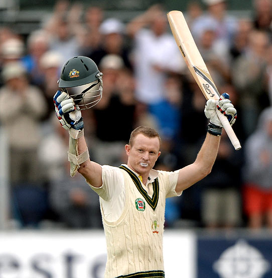 Chris Rogers celebrates reaching his century