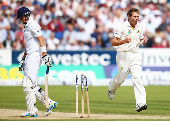 Ryan Harris of Australia celebrates after bowling Joe Root of England on Day 3 of 4th Ashes Test in Chester-le-Street, on Sunday