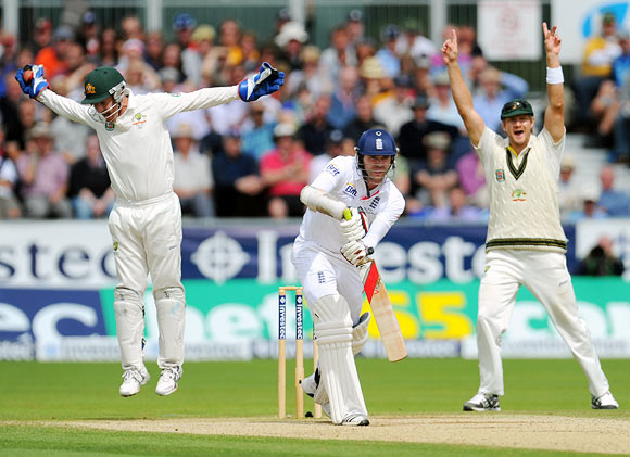 James Anderson is caught by wicketkeeper Brad Haddin