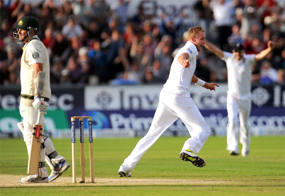 England bowler Stuart Broad celebrates after dismissing Ryan Harris