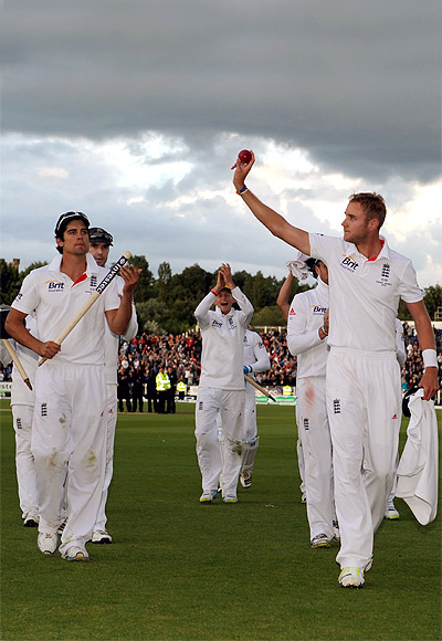 Stuart Broad of England hold up the ball after winning the 4th Ashes Test against Australia