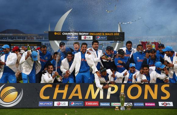 The India squad celebrate
