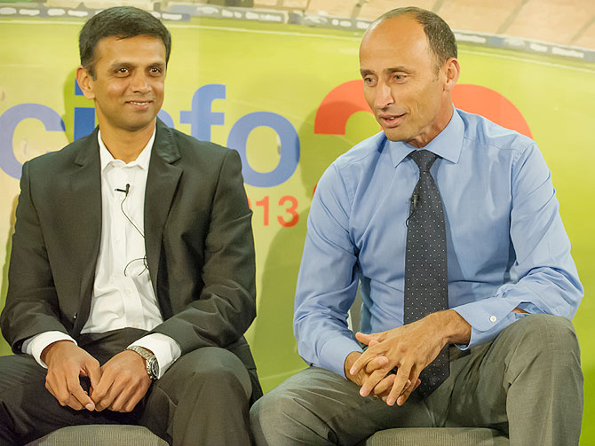 Rahul Dravid and Nasser Hussain at the event organised by ESPNcricinfo in London on Monday