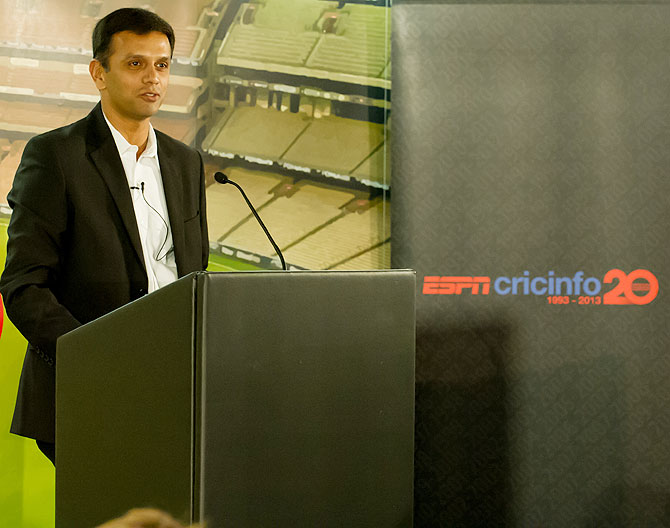 Rahul Dravid makes a keynote address at the event organised by ESPNcricinfo in London on Monday