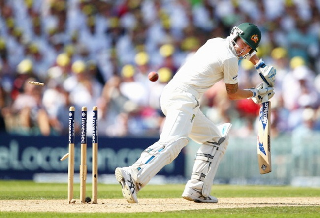Michael Clarke is bowled by James Anderson