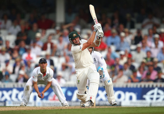 Ryan Harris of Australia bats at the Kia Oval