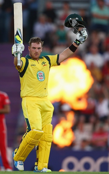 Aaron Finch of Australia celebrates making 150 runs