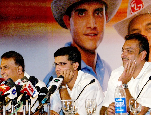 From right, Ravi Shastri, Sourav Ganguly, Sunil Gavaskar