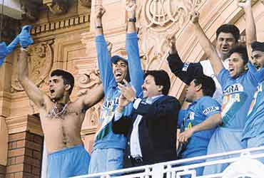 Sourav Ganguly celebrates after winning the Natwest Trophy at the Lord's balcony in 2002