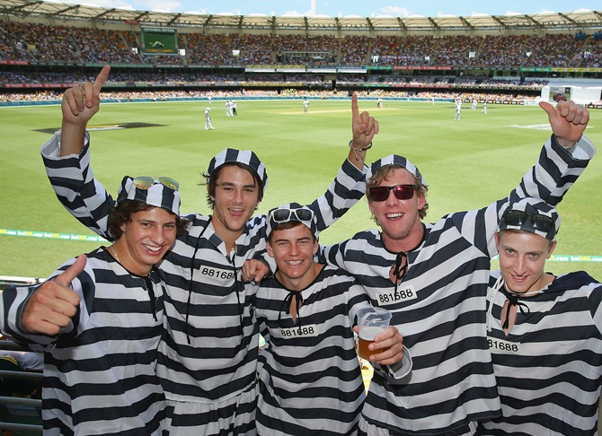 Barmy Army members dressed as convicts