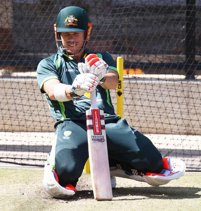 David Warner of Australia bats during nets session