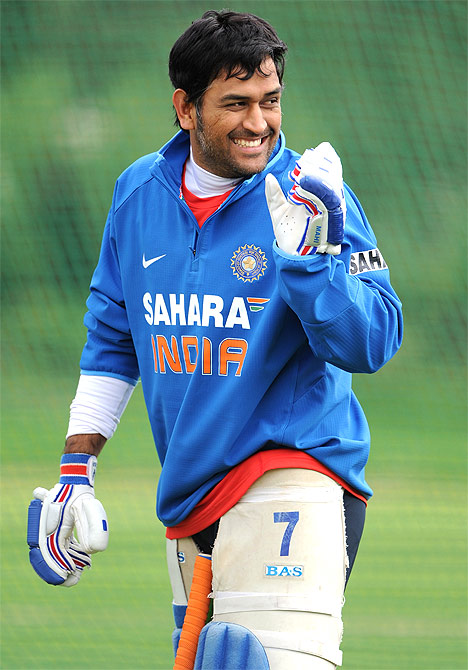 Indian captain MS Dhoni during a nets session