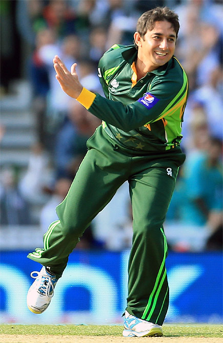 Saeed Ajmal of Pakistan celebrates taking a wicket