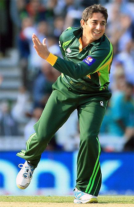 Saeed Ajmal of Pakistan celebrates taking a wicket