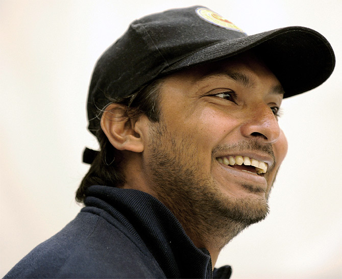 Sri Lanka's Kumar Sangakkara speaks at a news conference