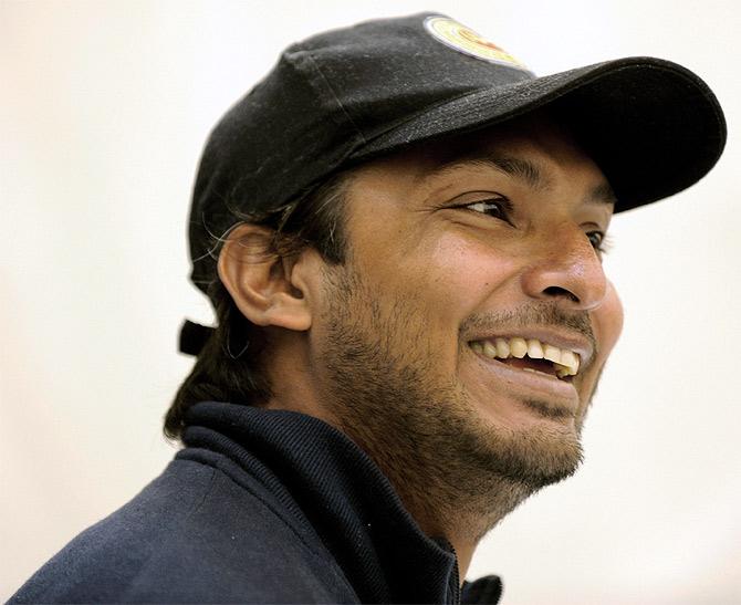 Sri Lanka's Kumar Sangakkara speaks at a news conference