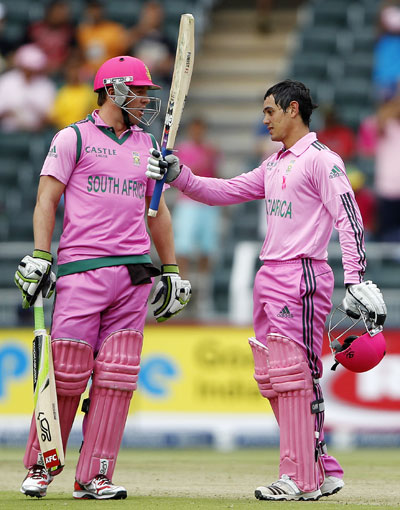 South Africa's Quinton de Kock and AB de Villiers