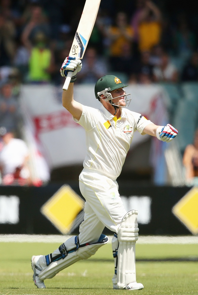 Brad Haddin of Australia celebrates making a century