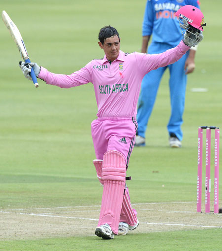 De Kock's century propels SA to big win over India in first ODI