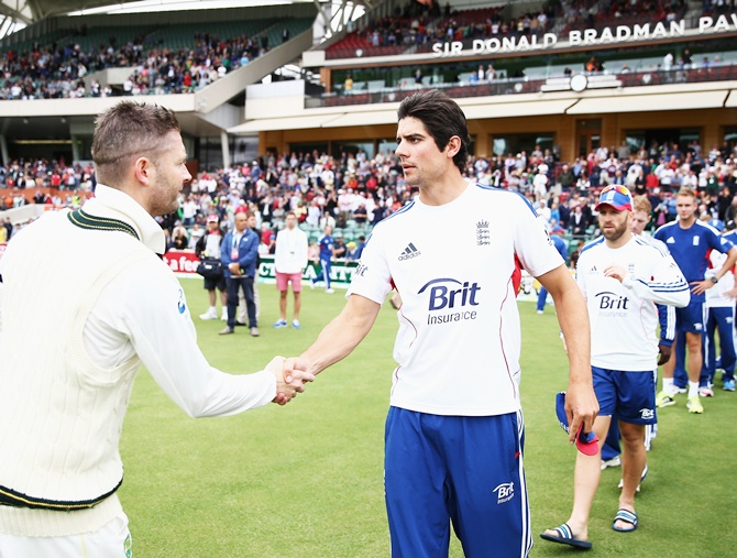 Michael Clarke of Australia is congratulated by Alastair Cook of England