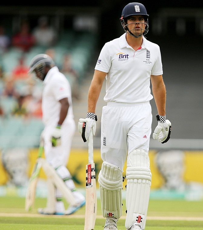 Alastair Cook of England leaves the field after getting out