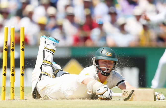 Chris Rogers of Australia is run out