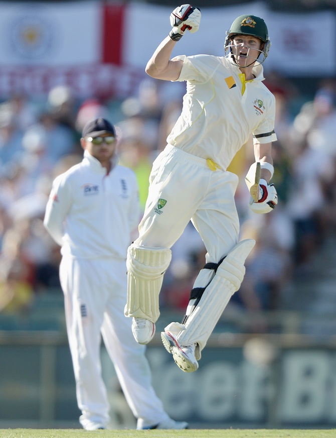 Rediff Cricket - Indian cricket - Ashes PHOTOS: Smith hundred rallies Australia in Perth Test