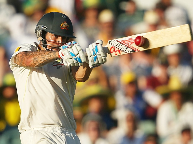 Mitchell Johnson of Australia bats