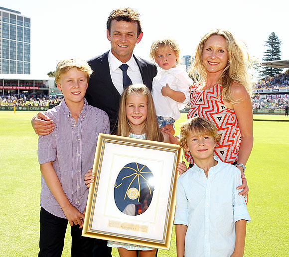 Adam Gilchrist of Australia poses with his family after being inducted into the ICC's Hall of Fame on Day 1 of the Third Ashes Test at WACA in Perth on Friday