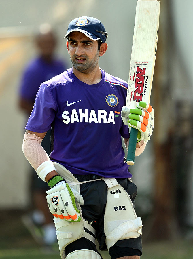 Gautam Gambhir of India waits to bat during a nets session