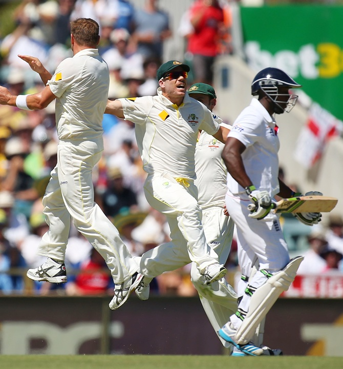 Ryan Harris of Australia celebrates with David Warner after taking the wicket of Michael Carberry of England