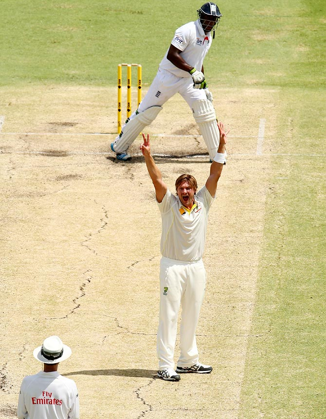 Shane Watson appeals for the wicket of Michael Carberry