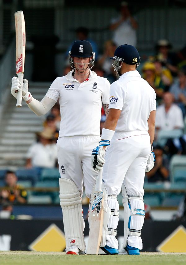 Ben Stokes of England celebrates his half century during day four of the Third Ashes Test