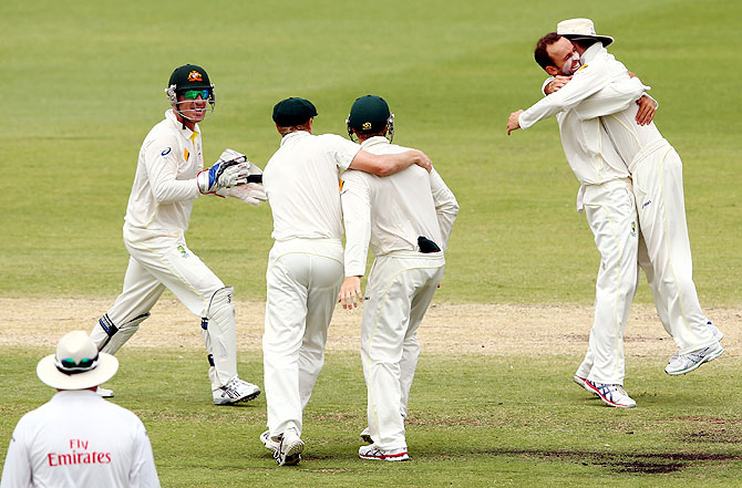 Nathan Lyon of Australia celebrates the wicket of Graeme Swann of England on Day 5 of the Third Ashes Test at WACA in Perth on Tuesday