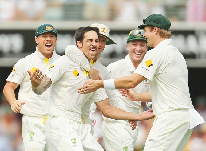 Mitchell Johnson of Australia celebrates