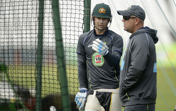 Michael Clarke and coach Darren Lehmann