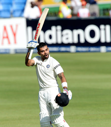 Virat Kohli of India celebrates his hundred