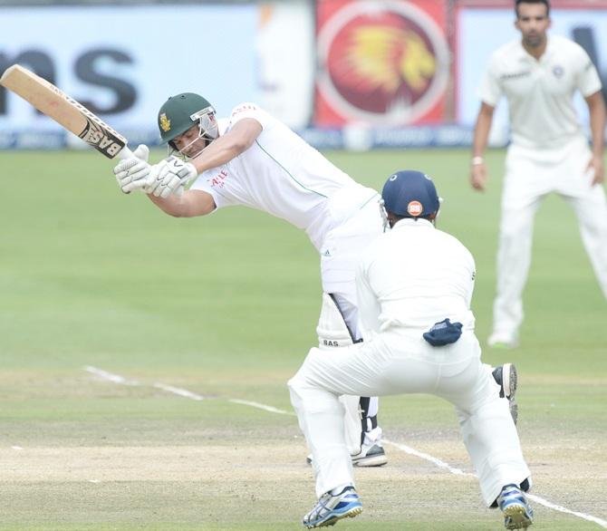 Alviro Petersen of South Africa plays to fine-leg
