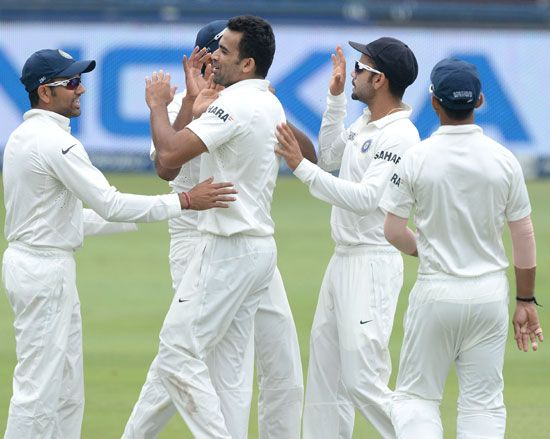 Zaheer Khan celebrates after picking upa wicket