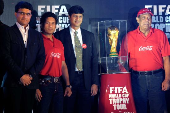 Sachin Tendulkar, Sourav Ganguly and former Brazil captain Carlos Alberto Torres